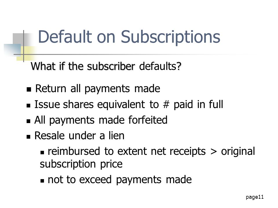 Default on Subscriptions