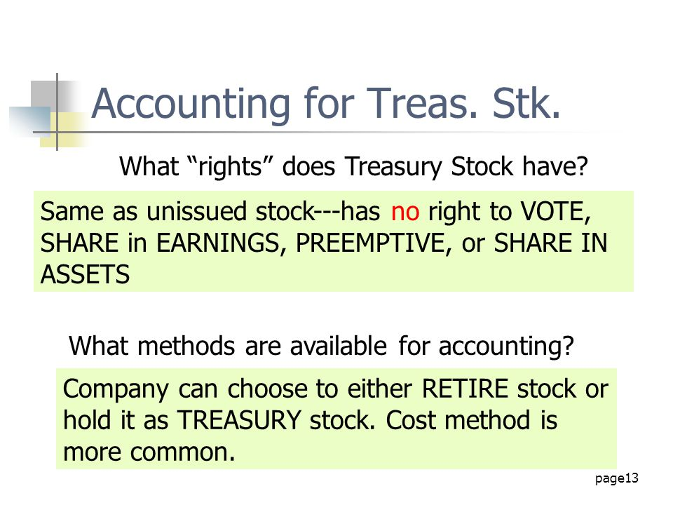 Accounting for Treas. Stk.