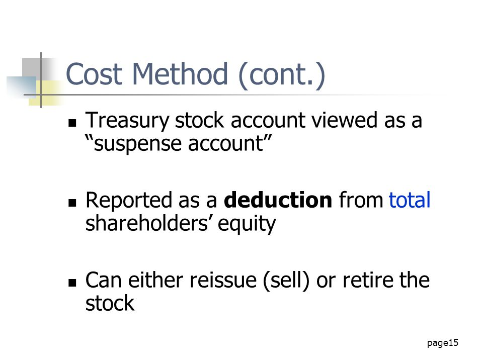 Cost Method (cont.) Treasury stock account viewed as a suspense account Reported as a deduction from total shareholders' equity.