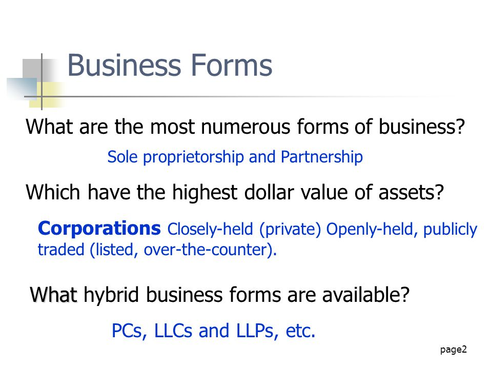 Business Forms What are the most numerous forms of business