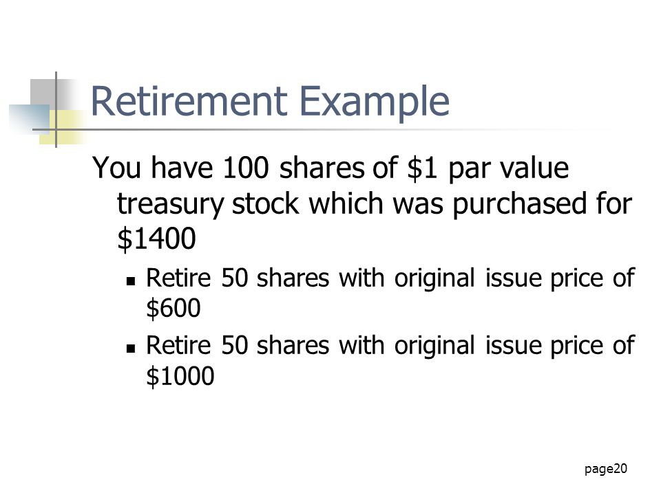 Retirement Example You have 100 shares of $1 par value treasury stock which was purchased for $1400.