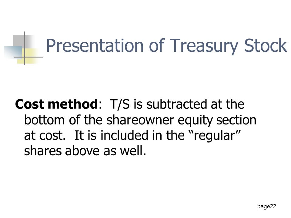 Presentation of Treasury Stock