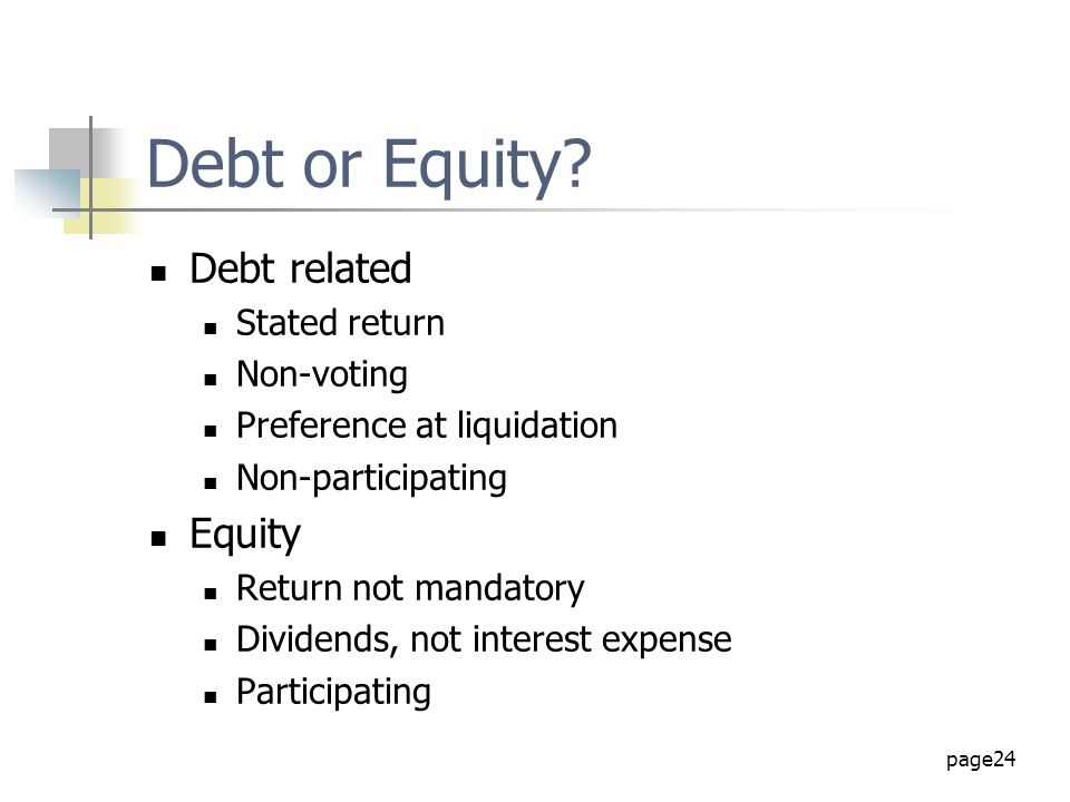 Debt or Equity Debt related Equity Stated return Non-voting