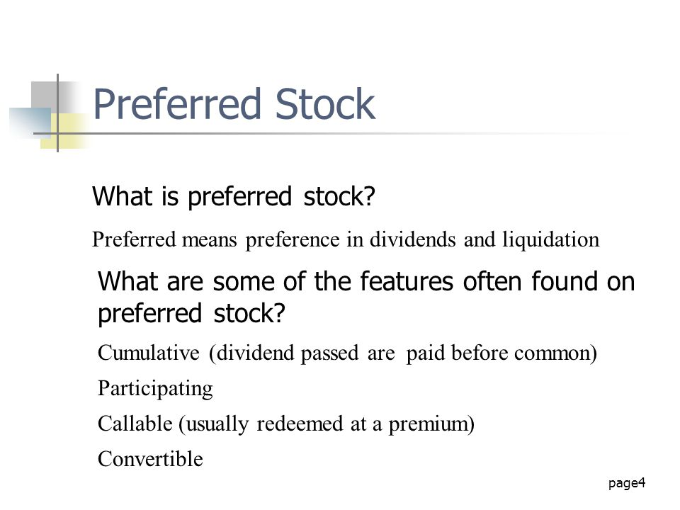 Preferred Stock What is preferred stock