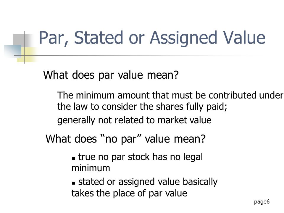 Par, Stated or Assigned Value
