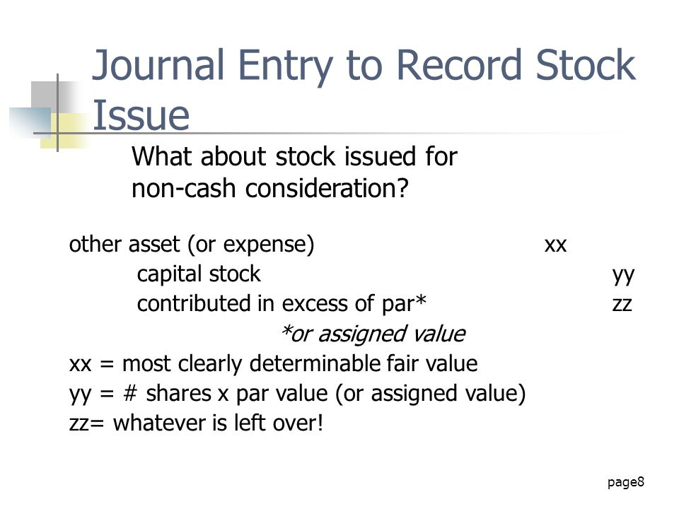 Journal Entry to Record Stock Issue