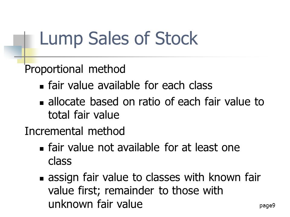 Lump Sales of Stock Proportional method