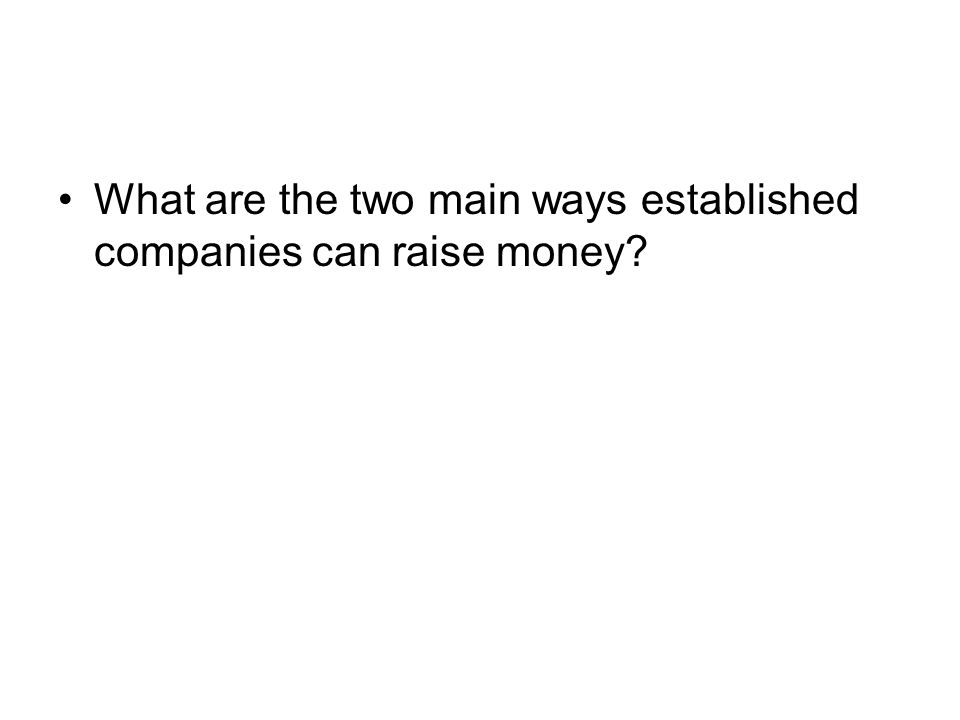 What are the two main ways established companies can raise money