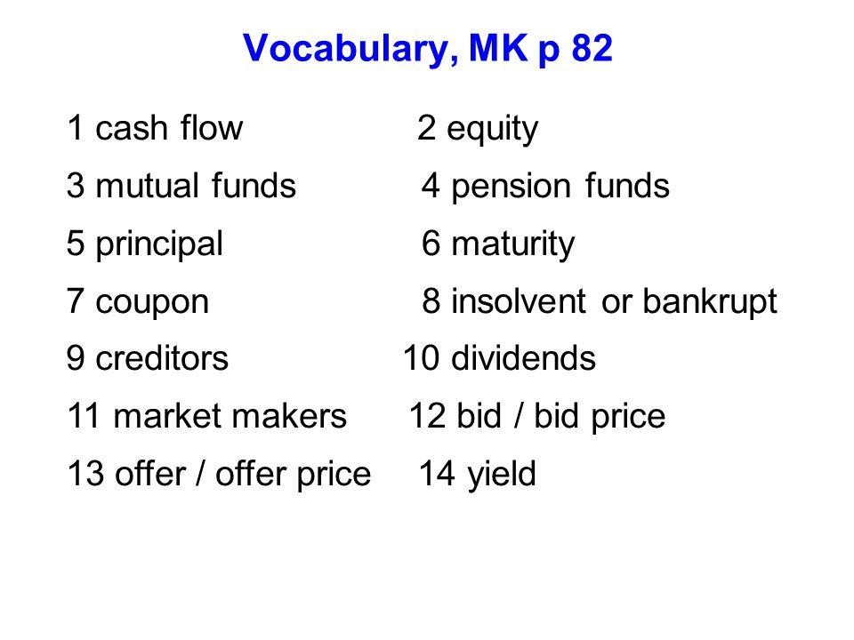 Vocabulary, MK p 82 1 cash flow 2 equity