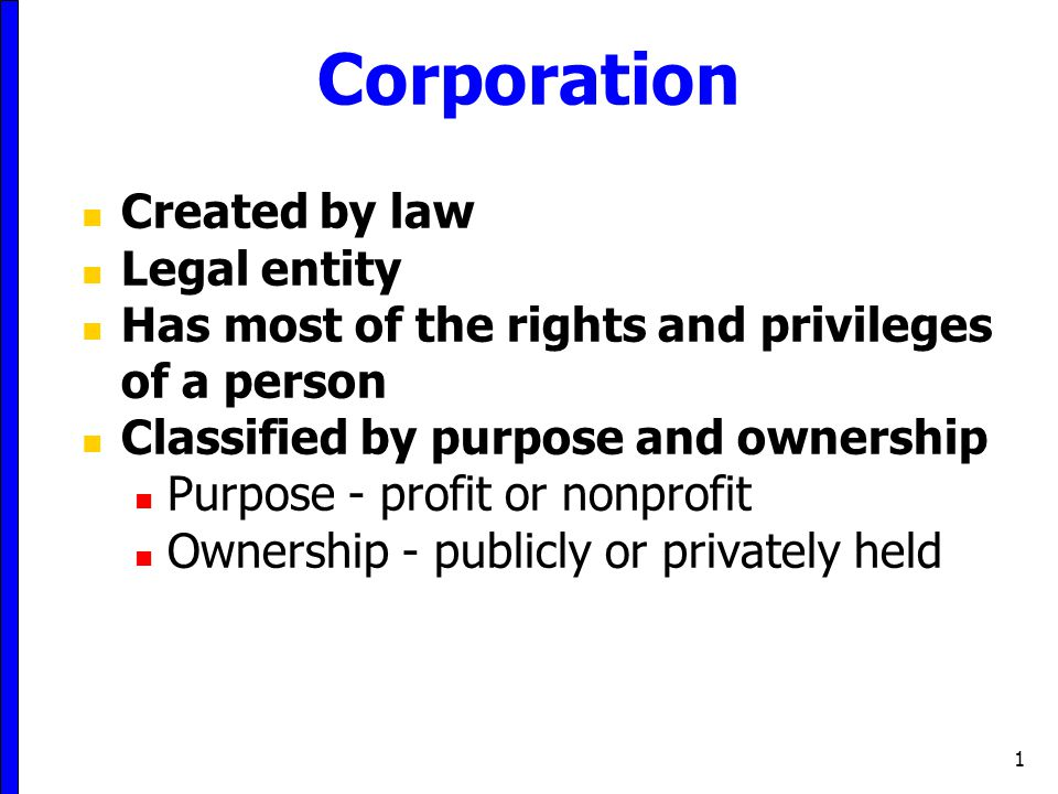 Corporation Created by law Legal entity