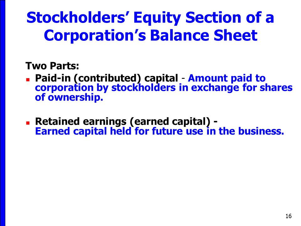 Stockholders' Equity Section of a Corporation's Balance Sheet