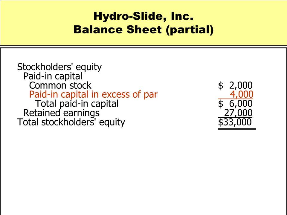 Balance Sheet (partial)