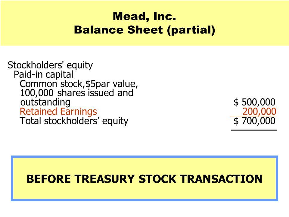 Balance Sheet (partial) BEFORE TREASURY STOCK TRANSACTION