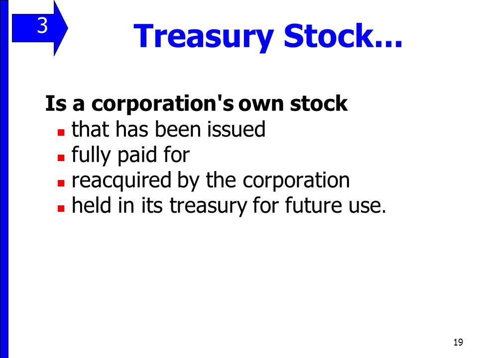 Treasury Stock... 3 Is a corporation s own stock that has been issued