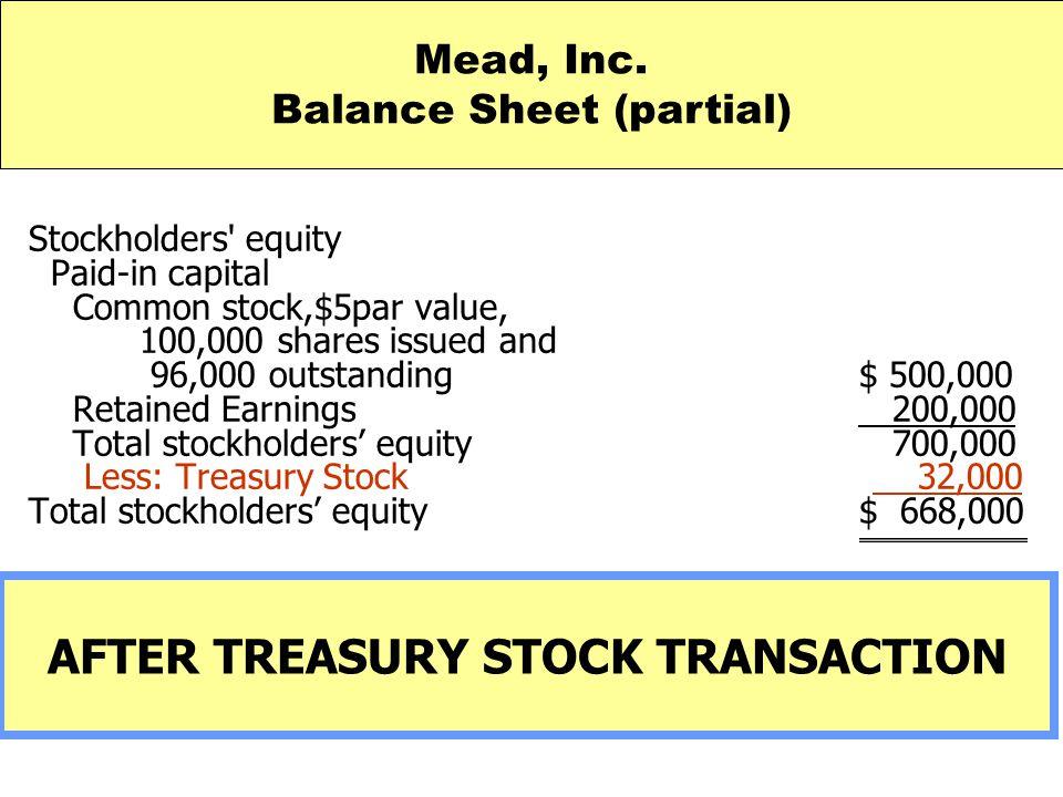 Balance Sheet (partial) AFTER TREASURY STOCK TRANSACTION