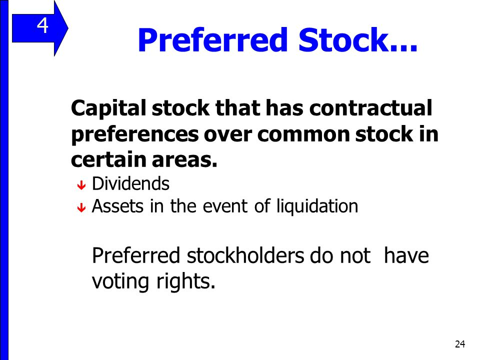 11 4. Preferred Stock... Capital stock that has contractual preferences over common stock in certain areas.
