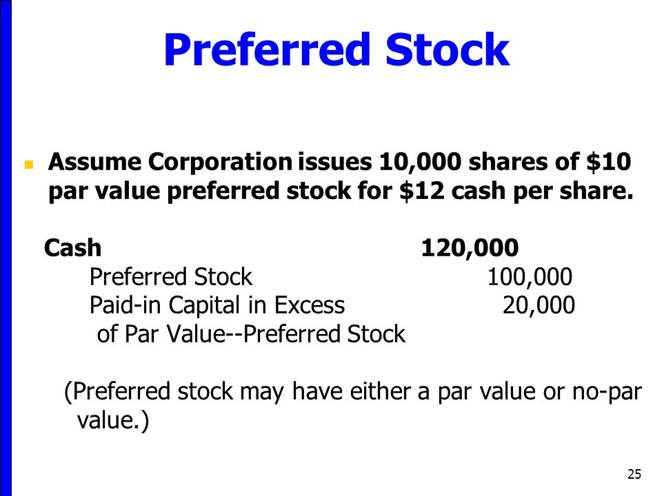 Preferred Stock Assume Corporation issues 10,000 shares of $10 par value preferred stock for $12 cash per share.
