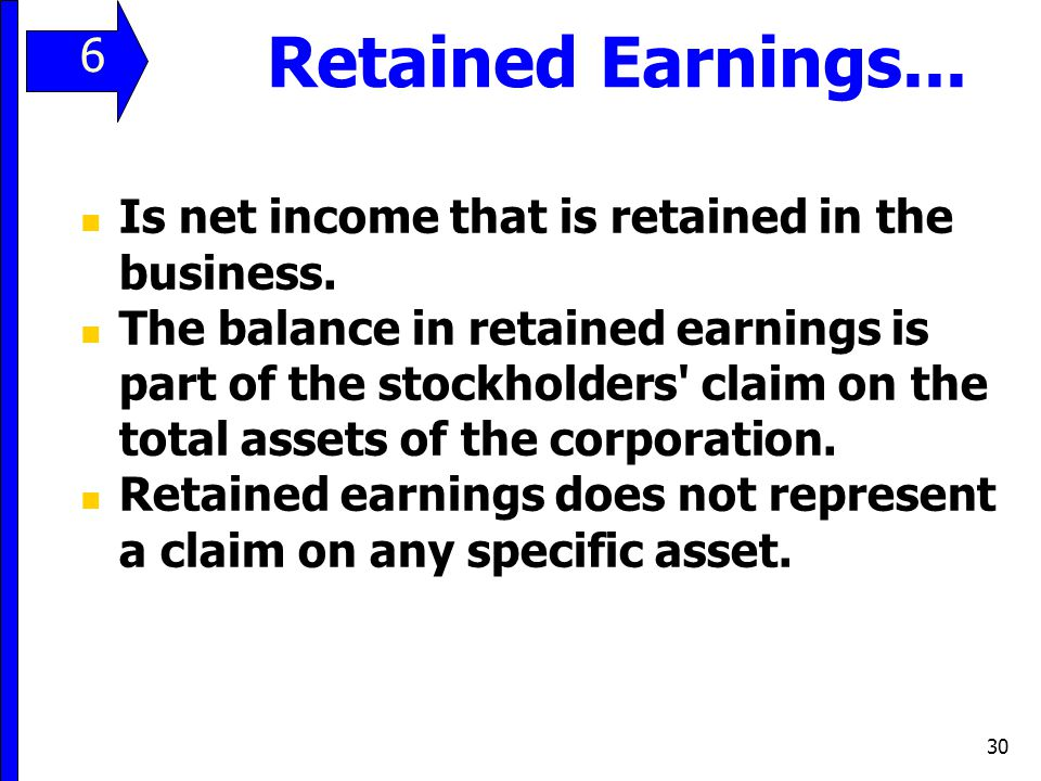 Retained Earnings... 6 Is net income that is retained in the business.