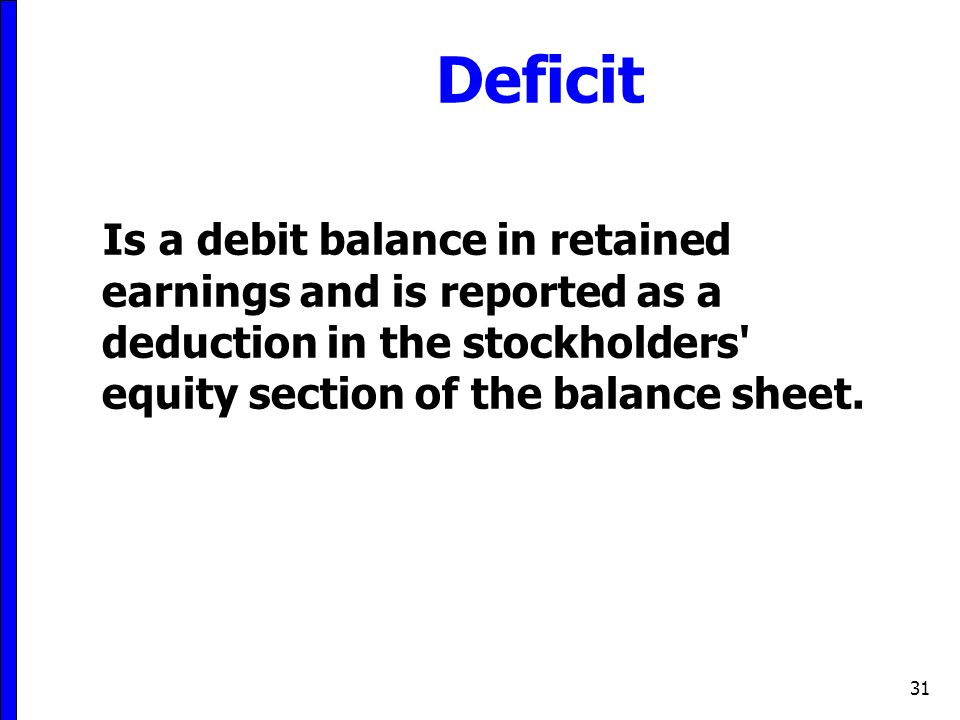 Deficit Is a debit balance in retained earnings and is reported as a deduction in the stockholders equity section of the balance sheet.