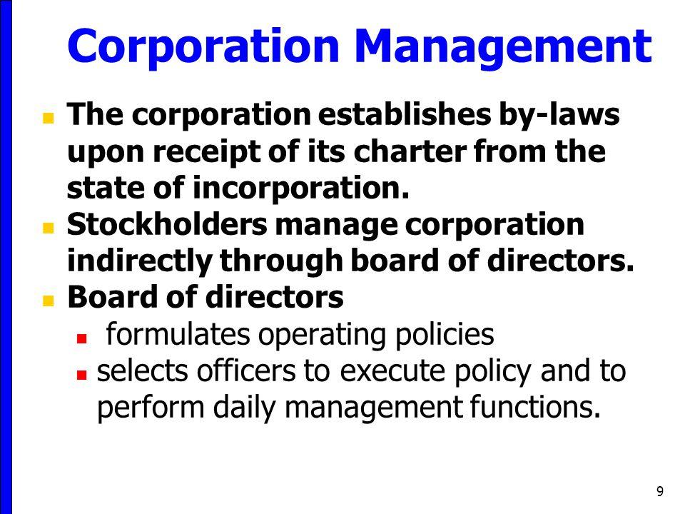 Corporation Management