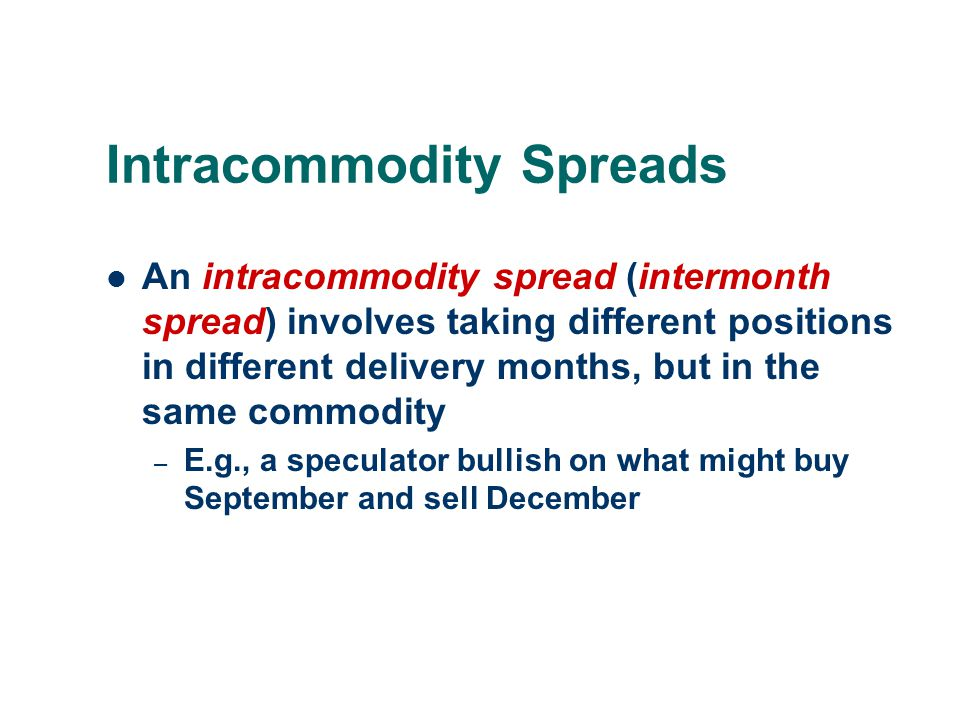 Intracommodity Spreads