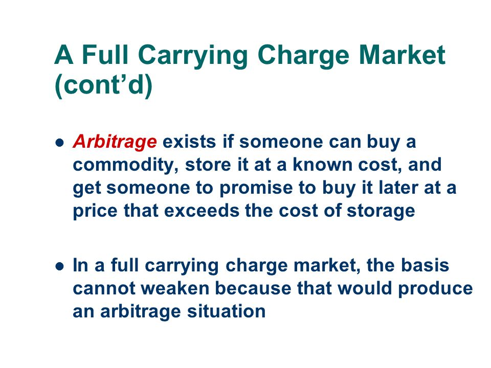 A Full Carrying Charge Market (cont'd)