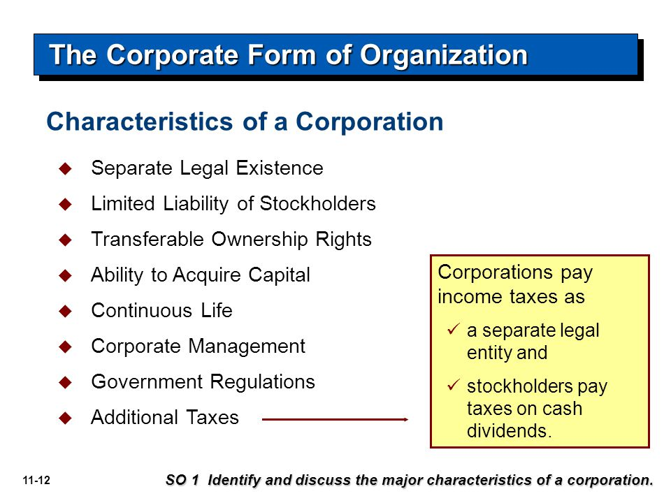 The Corporate Form of Organization