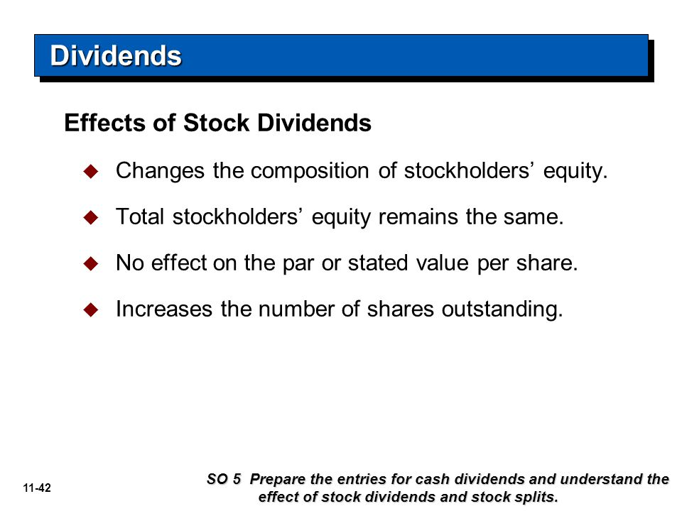 Dividends Effects of Stock Dividends