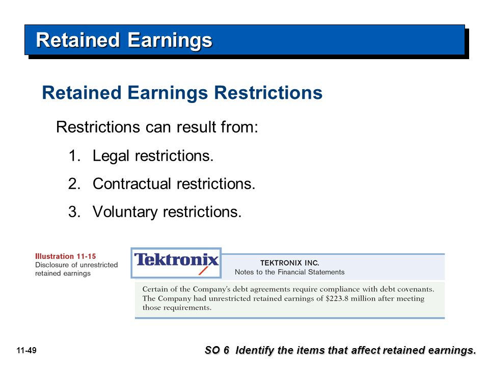 Retained Earnings Retained Earnings Restrictions