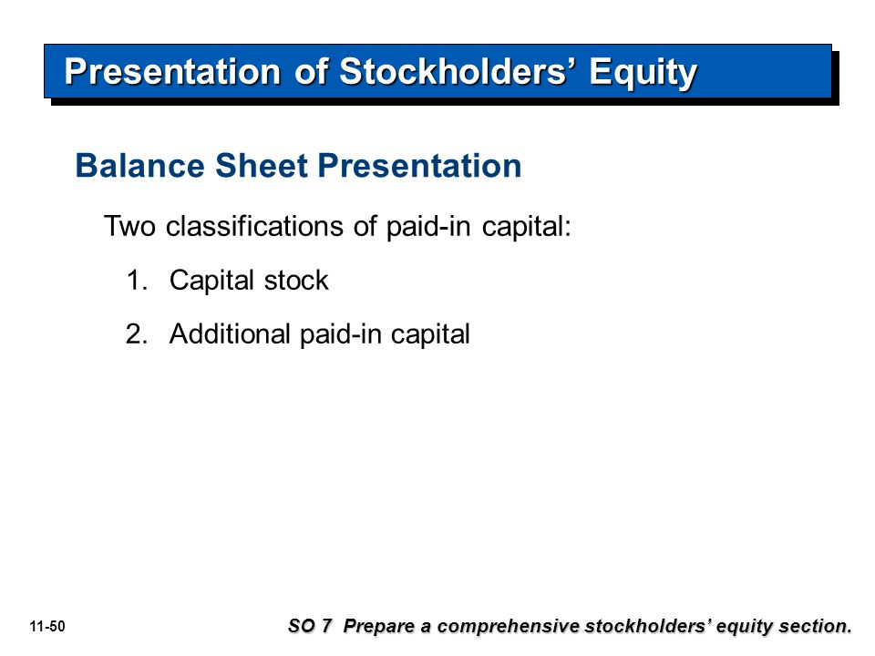 Presentation of Stockholders' Equity