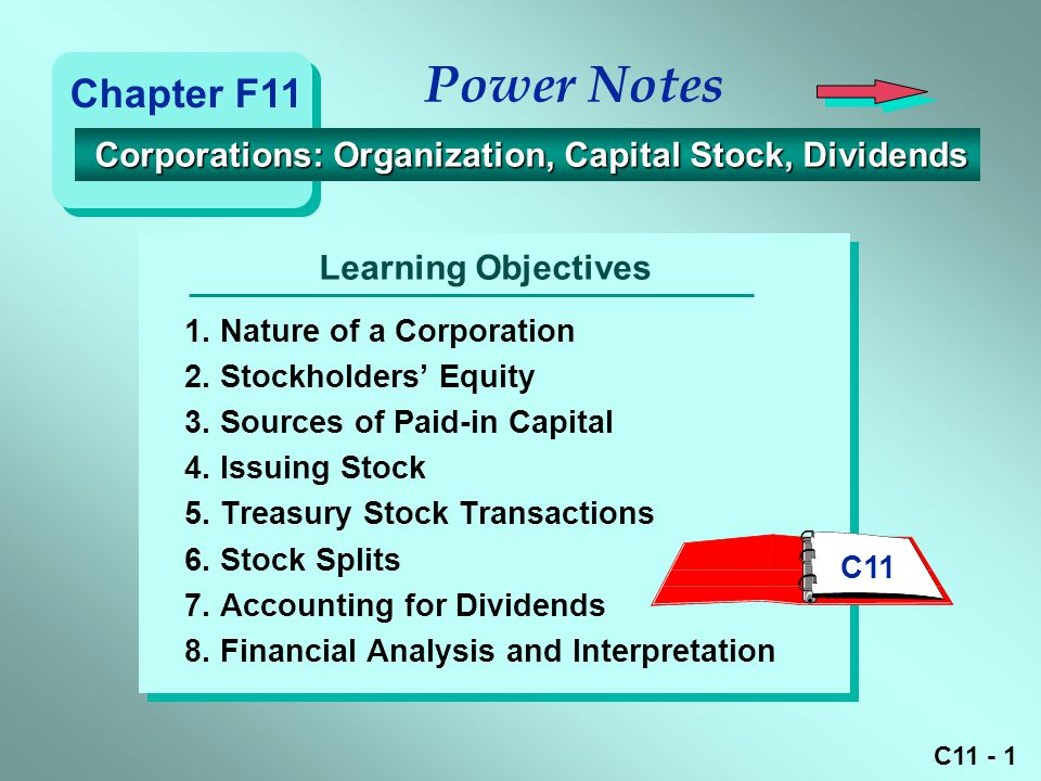 Power Notes Chapter F11. Corporations: Organization, Capital Stock, Dividends. Learning Objectives.