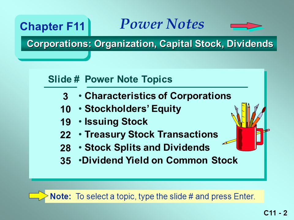 Power Notes Chapter F11. Corporations: Organization, Capital Stock, Dividends. Slide # Power Note Topics.