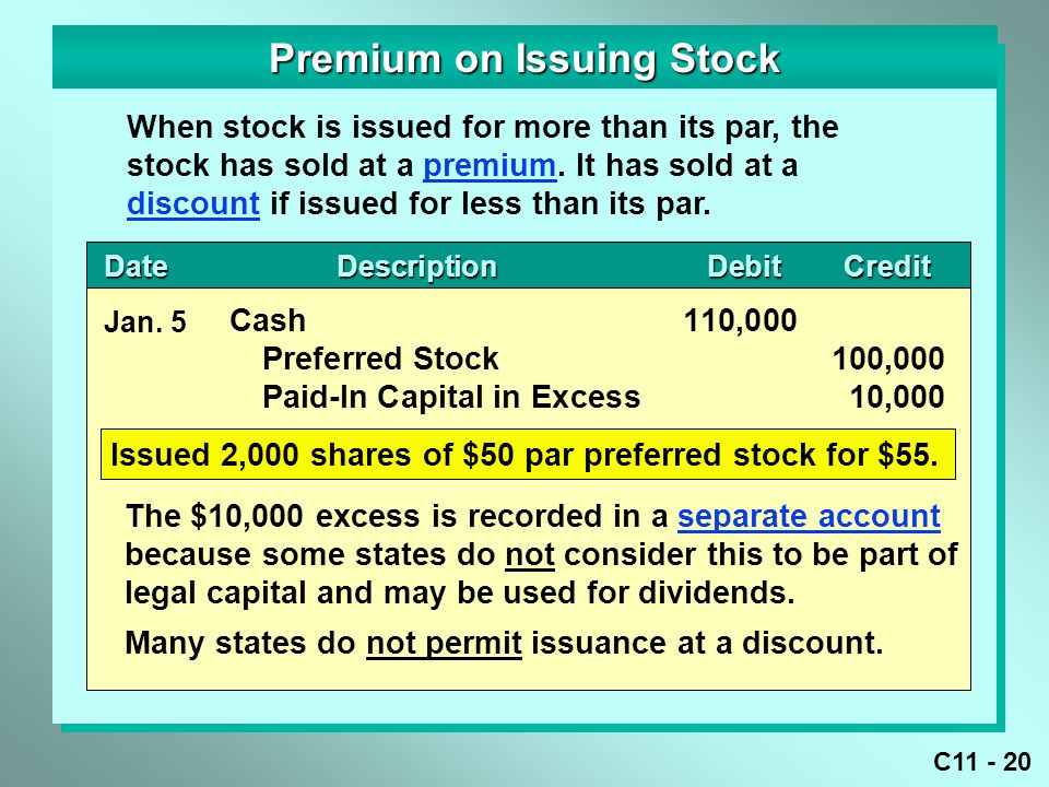 Premium on Issuing Stock