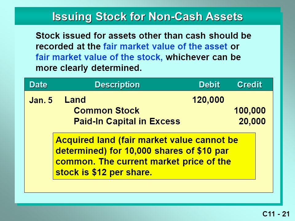 Issuing Stock for Non-Cash Assets