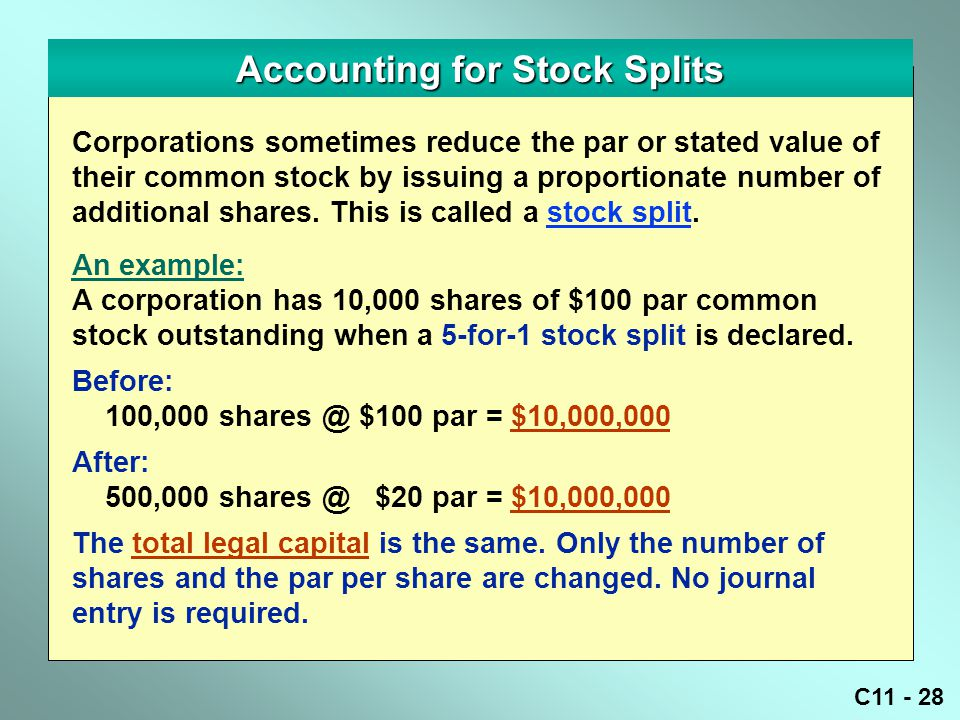 Accounting for Stock Splits