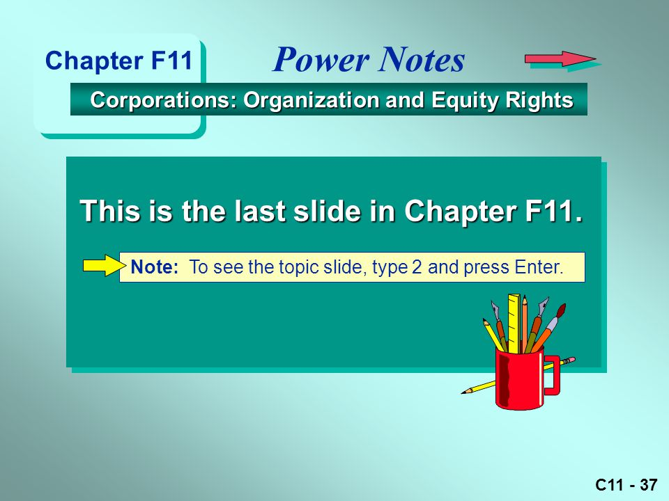 Power Notes This is the last slide in Chapter F11. Chapter F11