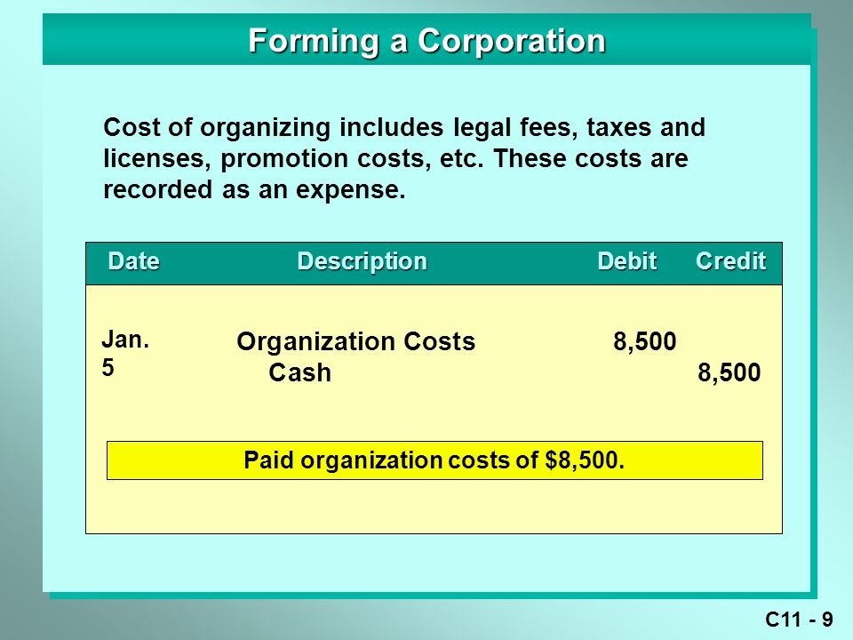 Paid organization costs of $8,500.