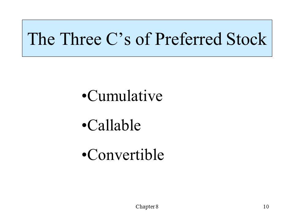 The Three C's of Preferred Stock