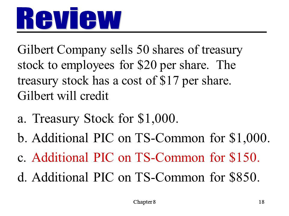 Review Treasury Stock for $1,000.