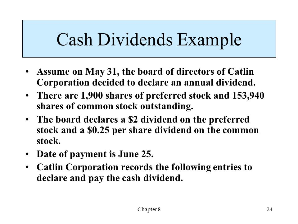 Cash Dividends Example