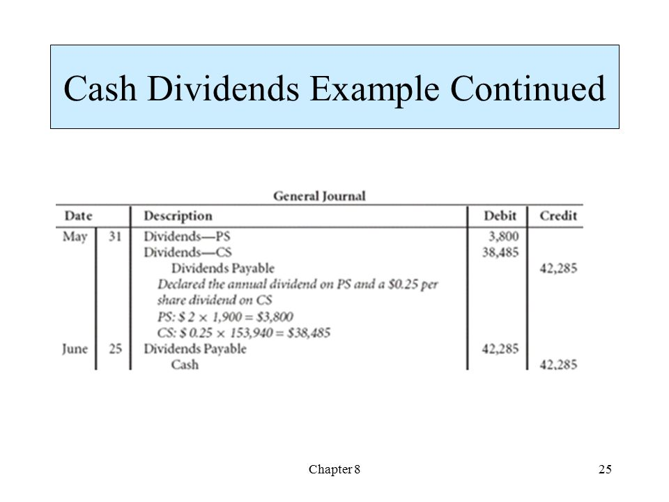 Cash Dividends Example Continued