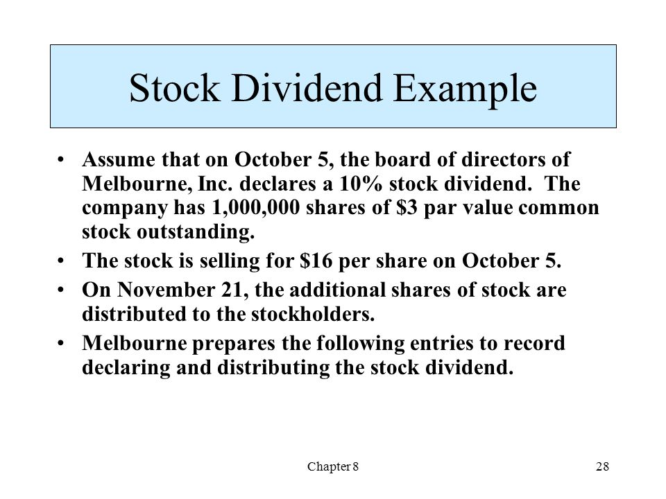 Stock Dividend Example