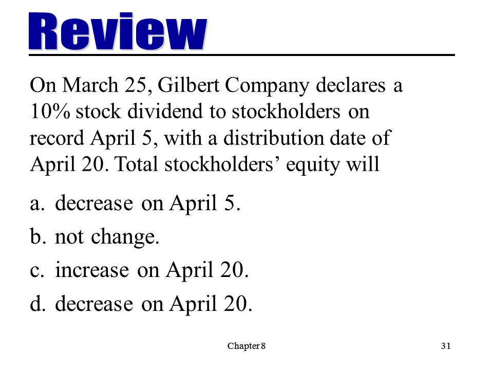 Review decrease on April 5. not change. increase on April 20.