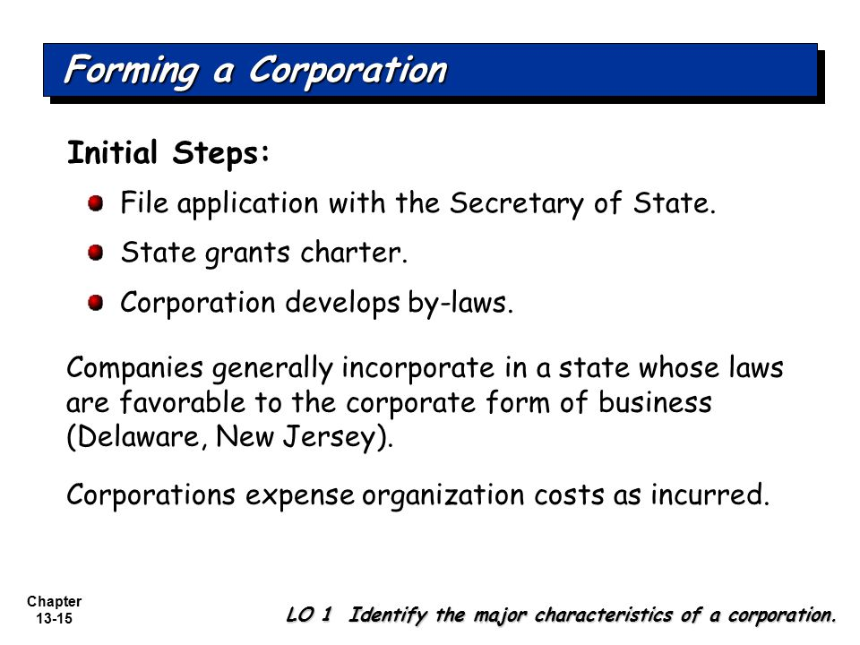 Forming a Corporation Initial Steps:
