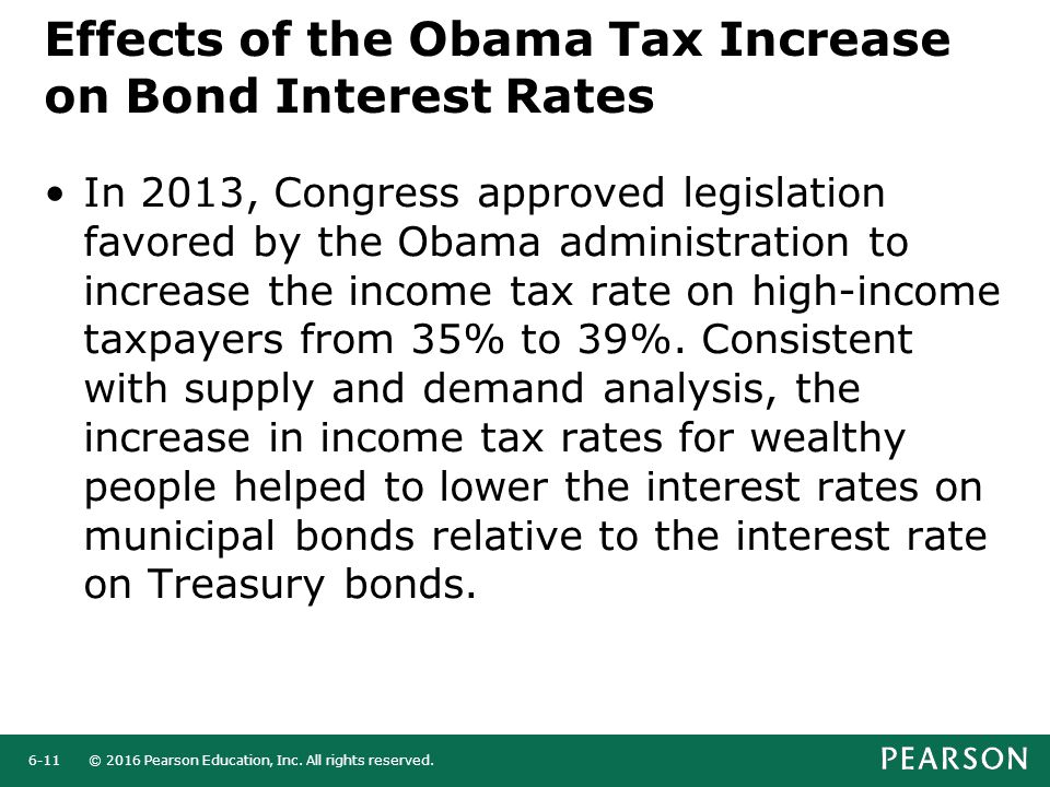 Effects of the Obama Tax Increase on Bond Interest Rates