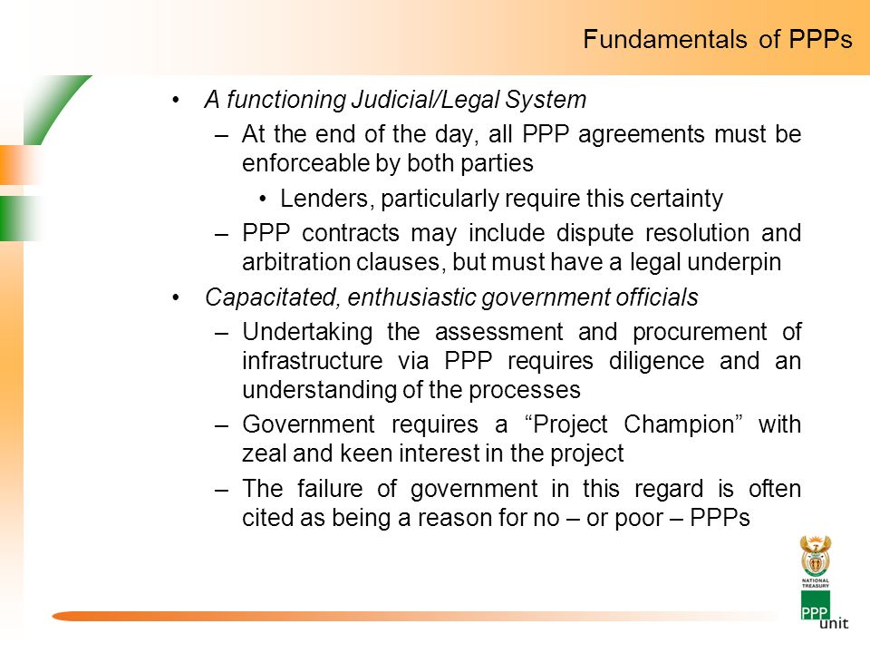 Fundamentals of PPPs A functioning Judicial/Legal System