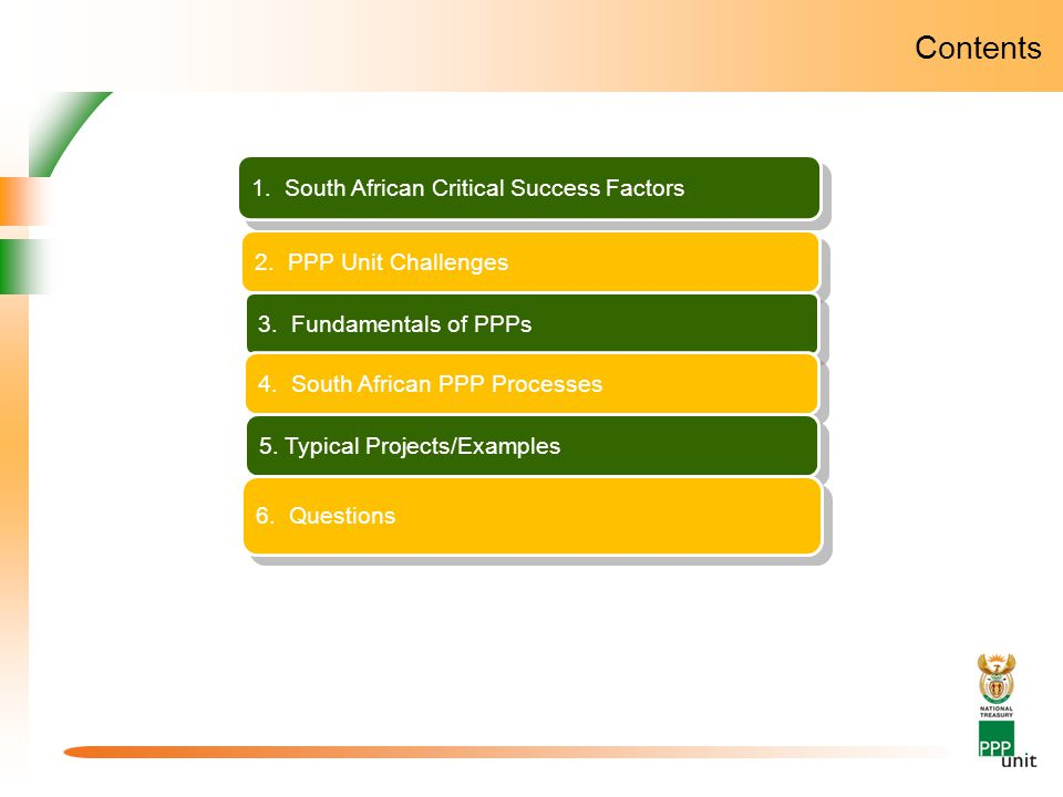 Contents 3. The South African PPP Unit