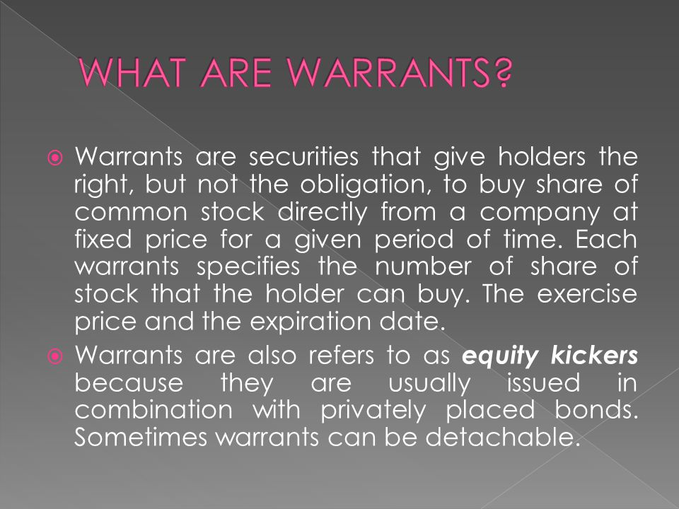 WHAT ARE WARRANTS