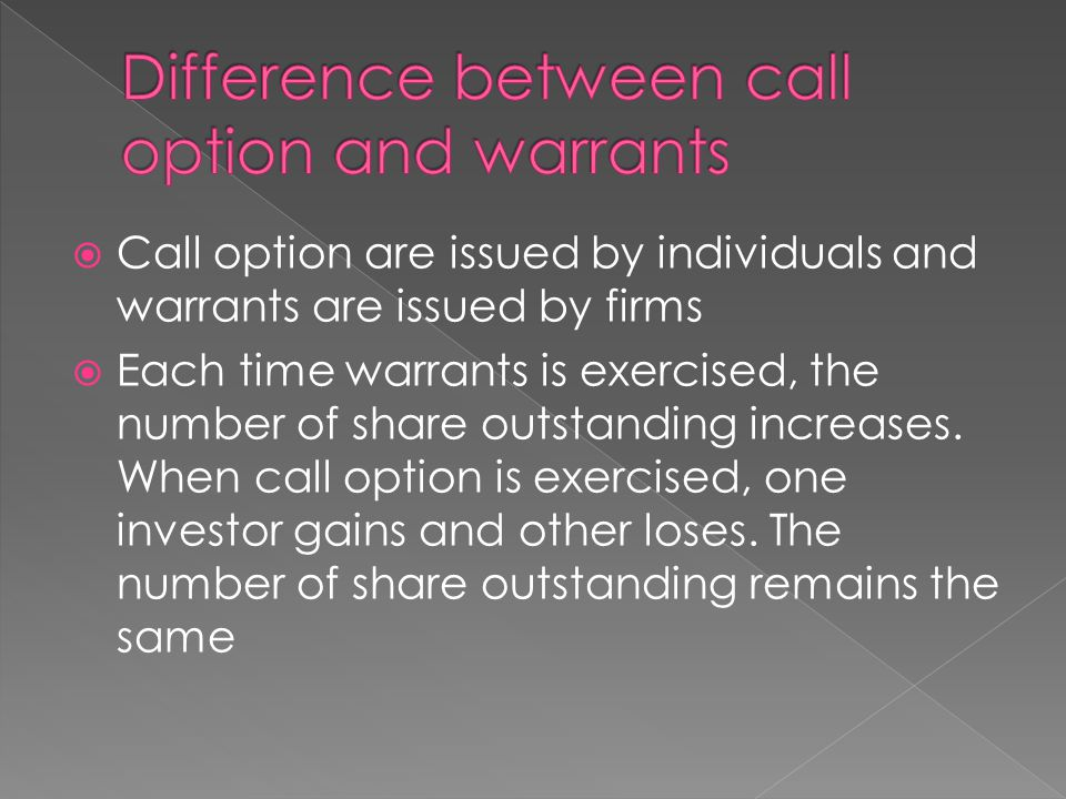 Difference between call option and warrants