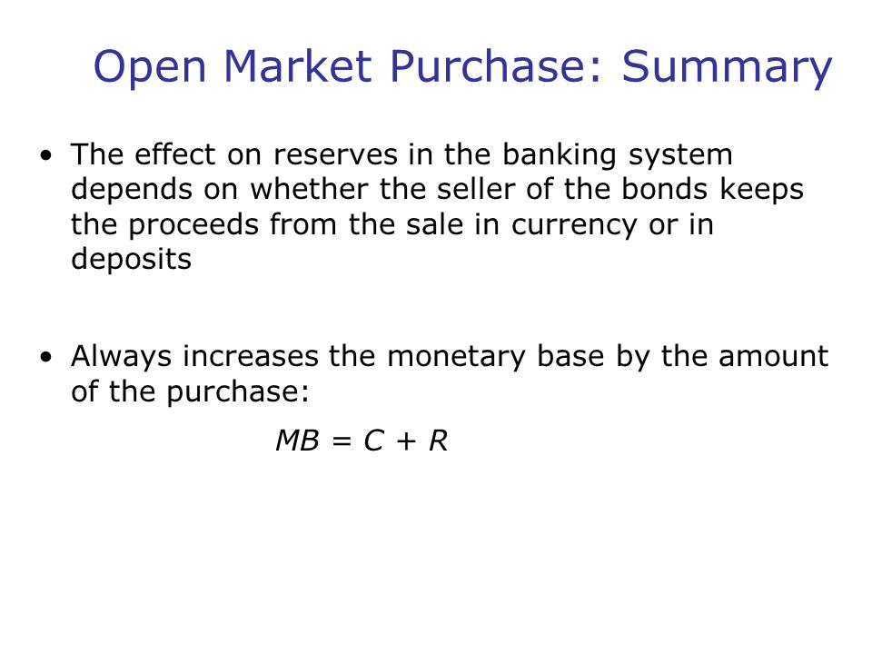 Open Market Purchase: Summary